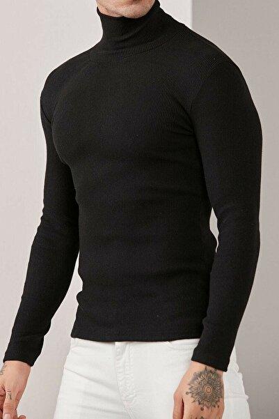 Belifanti Collection Erkek Balıkçı Yaka Boğazlı Slim Fit Kazak Siyah