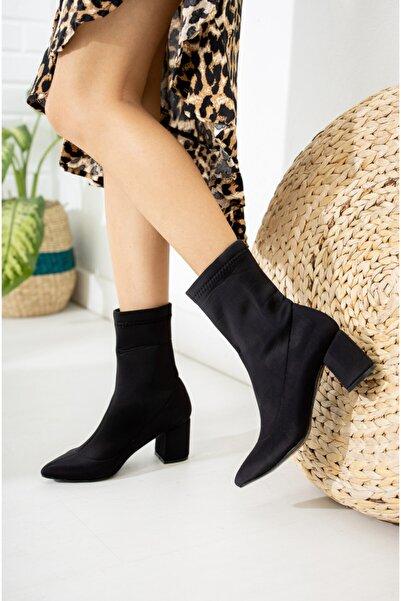 Nar Kadın Siyah Dalgıç Çorap Bot