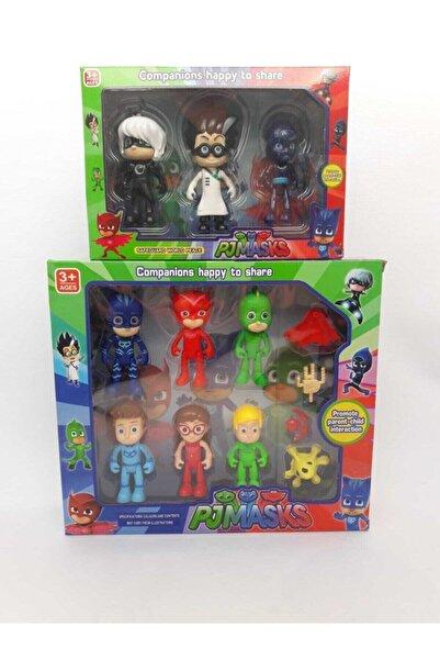 BFY TOYS Pjmasks 13'lü Pijamaskeliler Figür Seti Romeo Gece Ninjası Ay Kız Kedi Çocuk Kertenkele Baykuş Kız