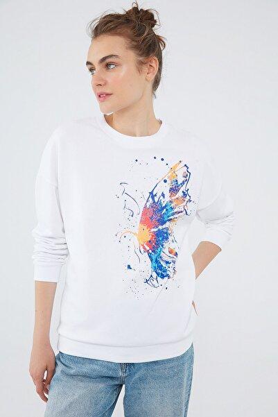 Mavi Kadın Kelebek Baskılı Beyaz Sweatshirt 1610094-620