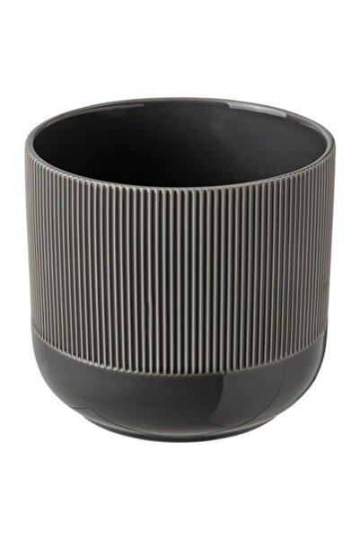 IKEA Gradvıs Dekoratif Saksı 15 cm Koyu Gri Stoneware