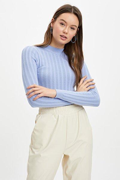 DeFacto Kadın Mavi Slim Fit Triko Kazak N6780AZ.20SP.BE554
