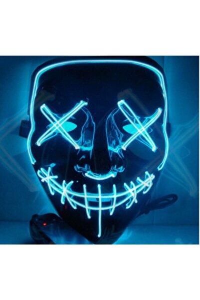 SHOPLİNE Hallowen Led Işıklı Neon Maske 3 Modlu Parti Eğlence Maskesi Transparan Mavi