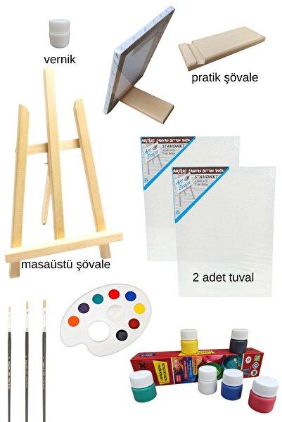 Oyun ve Sanat Masaüstü Şövaleli Resim Boya Başlangıç Seti, 2 Tuval, 6lı Boya, Palet, Vernik. (ŞÖVALYE)