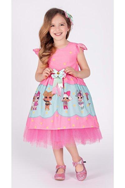 Mnk Kız Çocuk Pembe Tütülü Elbise