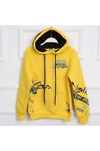 Ette Erkek Çocuk Üç Iplik Şardonlu Original Impossible Baskılı Kapüşonlu Sweatshirt Sarı 10017