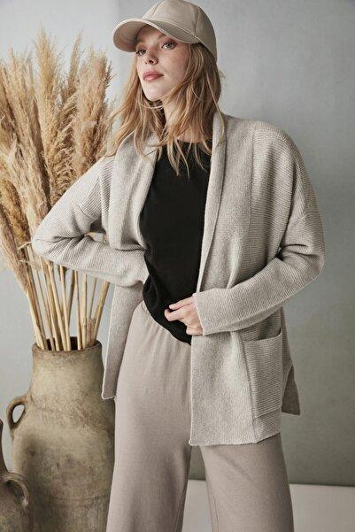 Silk and Cashmere & More Fabiana Rib Detaylı Uzun Kollu Hırka