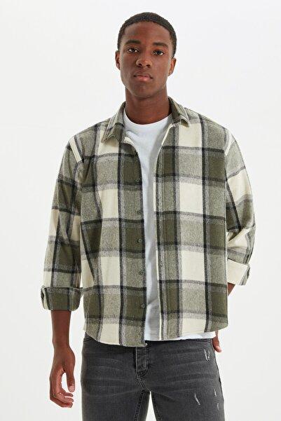 TRENDYOL MAN Haki Erkek Oduncu Regular Gömlek TMNAW21GO0730