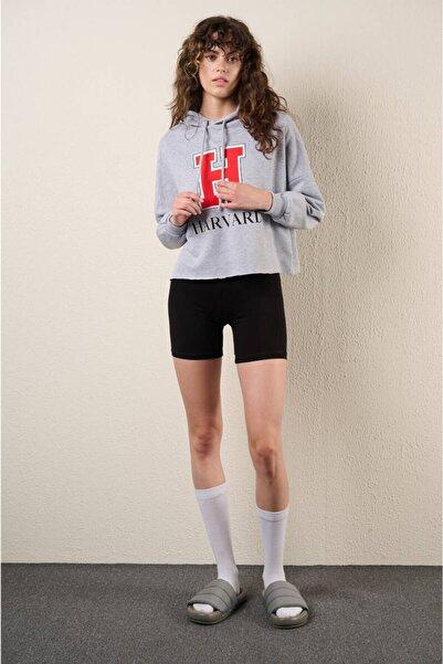 Zechka Gri Kapüşonlu Baskılı Kısa Sweatshirt (zck0324)