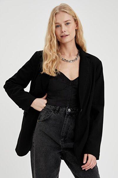 DeFacto Kadın Siyah Tek Düğme Detaylı Relax Fit Blazer Ceket