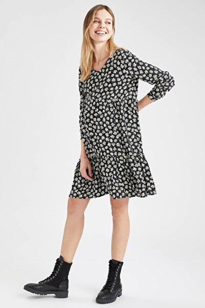 DeFacto V Yaka Volan Detaylı Yazlık Hamile Elbisesi