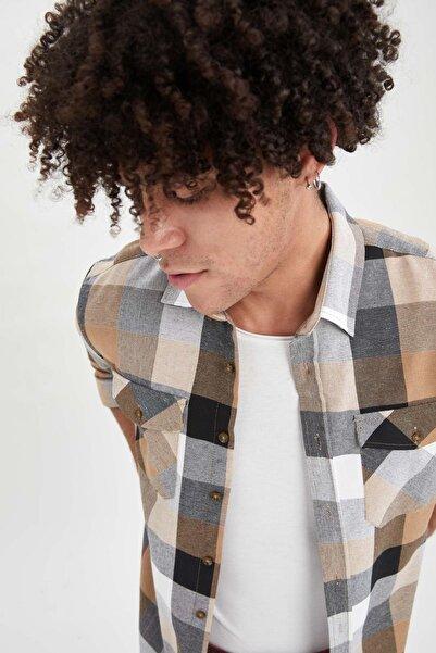 DeFacto Slim Fit Kare Desenli Uzun Kollu Gömlek Ceket
