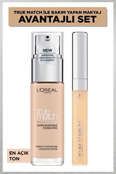 L'Oreal Paris L'oréal Paris True Match Bakım Yapan Fondöten 1r Rose Ivory & True Match Kapatıcı 1n Ivory