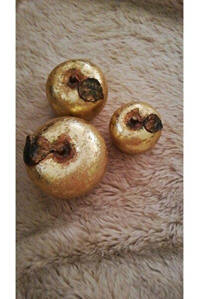 CROWNHOME El Boyaması 3'lü Gold Porselen Elma Takımı
