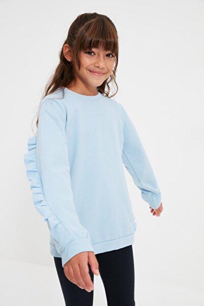 TRENDYOLKIDS Açık Mavi Fırfır Detaylı Kız Çocuk Örme İnce Sweatshirt TKDAW22SW0608