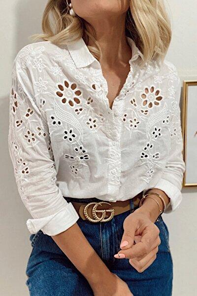 FURKAN EXCLUSIVE Kadın Beyaz %100 Pamuk Ince Fisto Gömlek