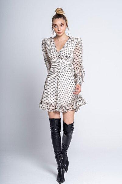 Tuba Ergin Nervür Detaylı Puantiyeli Astral Elbise
