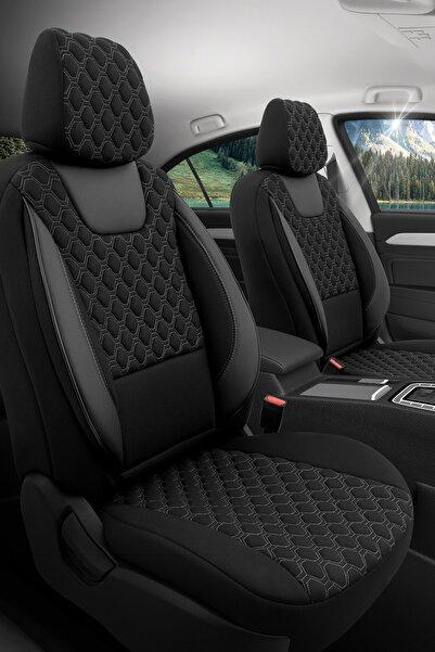 Otom Airbag Dikişli Ortopedik Premium Oto Koltuk Kılıfı Tam Set - Turismo Design Siyah-gri