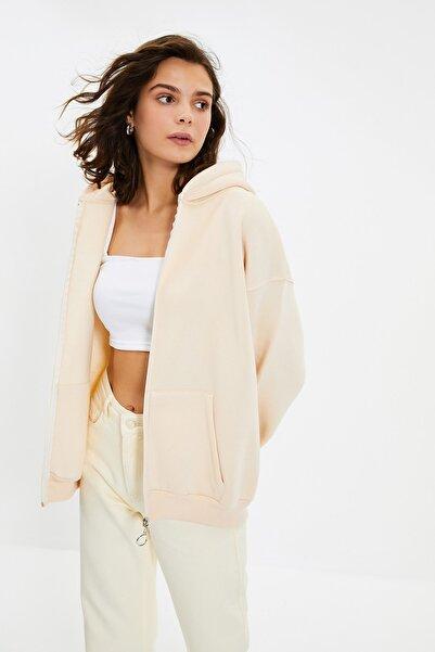 TRENDYOLMİLLA Taş Kapüşonlu Fermuarlı Oversize Şardonlu Örme Sweatshirt TWOAW22SW0677