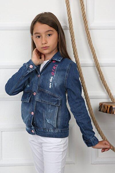 Enisena Kız Çocuk Indirgo Arkası Baskılı Kot Jean Çeket