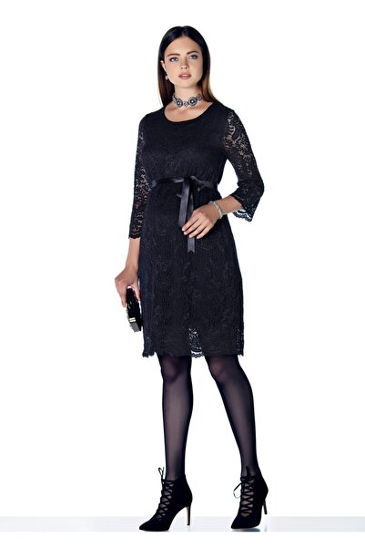 Ebru Maternity 3286 Siyah Dantelli Hamile Abiye Elbise