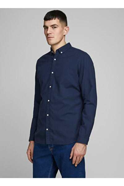 Jack & Jones Uzun Kol Slim Fit Düz Lacivert Erkek Gömlek