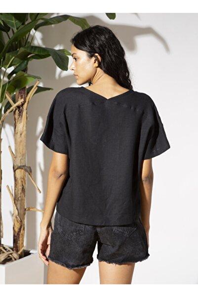Fabrika Tuvanam X V Yaka Siyah Kadın Bluz