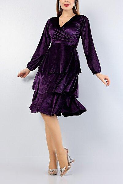 Md1 Collection Kadın Mor Kadife Kemerli Katlı Gece Parti Nişan Yeni Sezon Elbise 76750