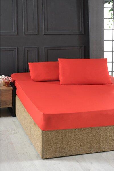 Mulberry Çift Kişilik Lastikli Pamuklu Çarşaf Seti 180x200 Kırmızı