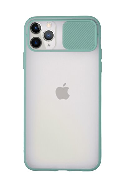 sepetzy Apple Iphone 11 Pro Uyumlu Kılıf Slider Kamera Korumalı Arkası Şeffaf Buzlu Kapak - Turkuaz