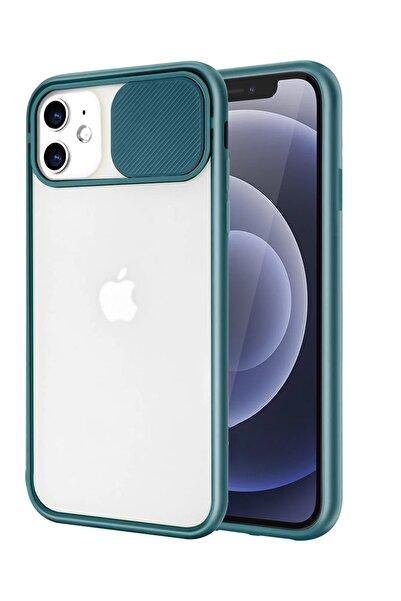 sepetzy Apple Iphone 12 Uyumlu Kılıf Slider Kamera Korumalı Arkası Şeffaf Buzlu Kapak - Koyu Yeşil