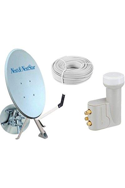 NEXT NEXTSTAR 80cm Ofset Çanak Anten Full Set + Dörtlü Lnb + 25 mt Anten Kablosu