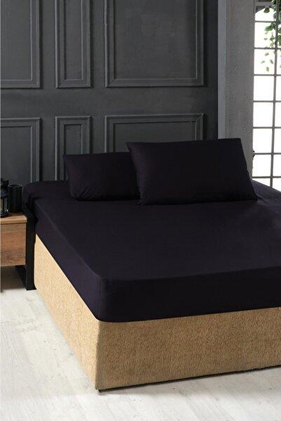 Mulberry Çift Kişilik Lastikli Pamuklu Çarşaf Seti 180x200 Siyah