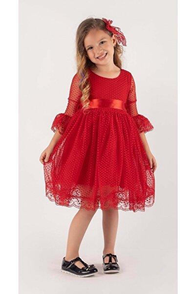 Mnk Kırmızı Fransız Dantel Tokalı Kız Çocuk Elbise