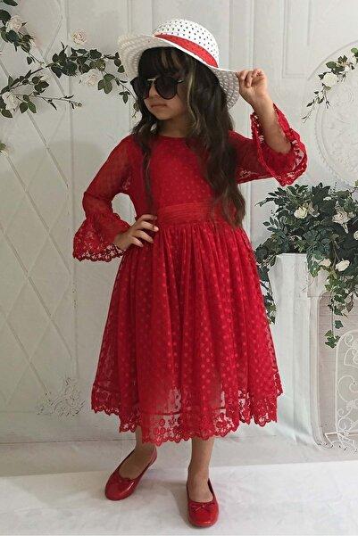 Mnk Kırmızı 3 Yaş Şapkalı Dantelli Kız Çocuk Elbise