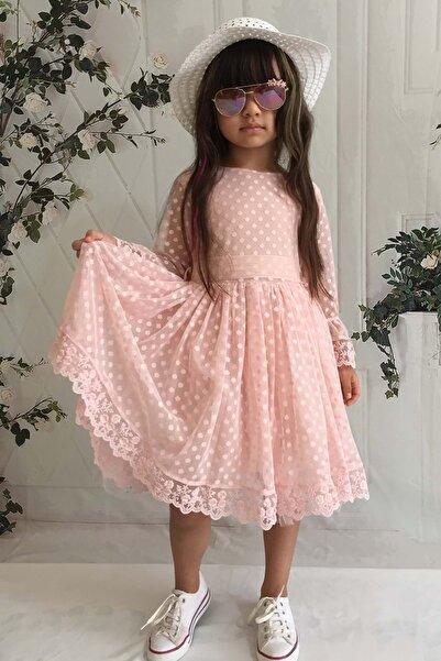 Mnk Somon Şapkalı Dantelli Kız Çocuk Elbise