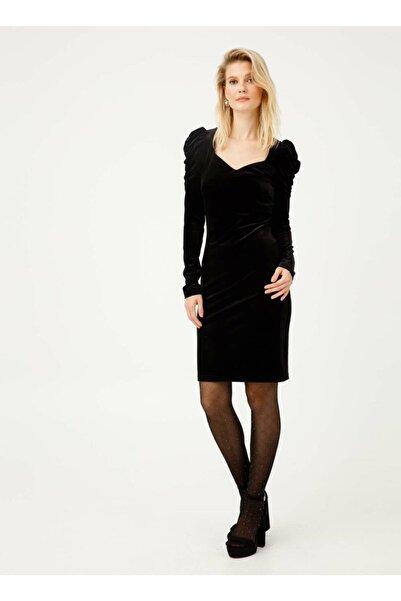 Ekol 21k.ekl.elb.04029.1 Uzun Kol Orta Düz Siyah Elbise