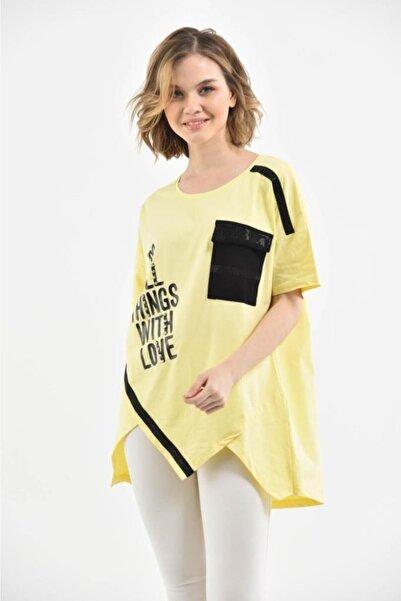 Modkofoni Yuvarlak Yaka Taşlı Baskılı Ve Şeritli Asimetrik Kesim Sarı Kadın Bluz