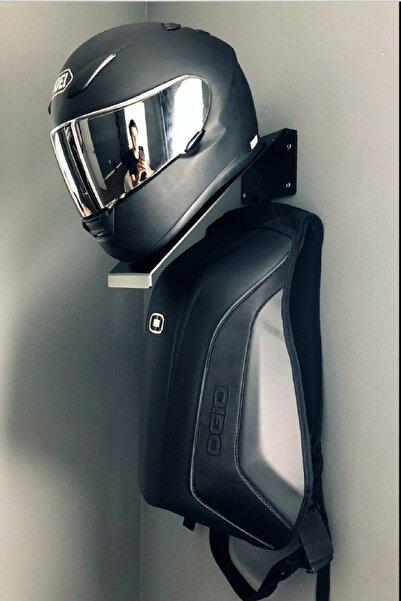 Hobi Demir&Sanat Siyah Motosiklet Kask Tutucu + Kask Askısı + Teçhizat Askısı