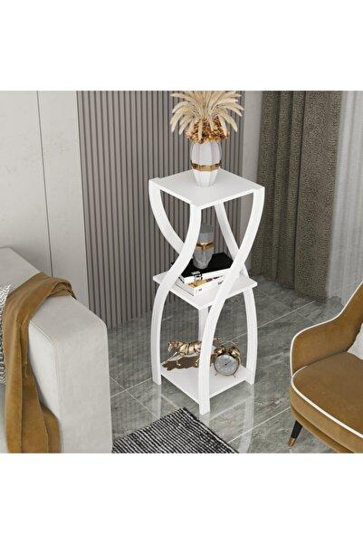 Haus Modüler Haus Dekoratif Yan Sehpa Çiçeklik Saksılık - Beyaz