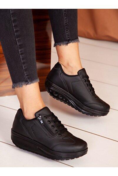 ayakkabıhavuzu Kadın Siyah Cilt Spor Ayakkabı