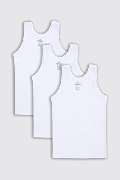 BAYKAR Erkek Çocuk Pamuklu Atlet 3'lü Set 2214 Beyaz