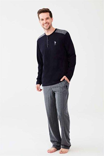 U.S. Polo Assn. Düğmeli Yaka Çizgili Lacivert Erkek Pijama Takım