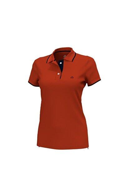 Woolnat Polo Yaka Çizgili Pamuklu Kadın T-shirt