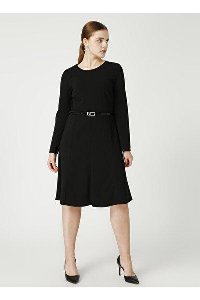 Ekol Yuvarlak Yaka Düz Siyah Kadın Elbise