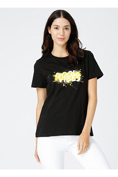 Fabrika Florida Gri Melanj Bisiklet Yaka Kadın T-shirt