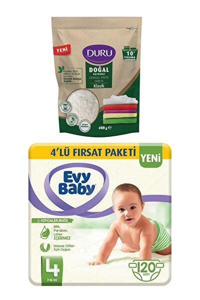 Evy Baby Bebek Bezi 4 Beden Maxi 4'lü Fırsat 120 Adet Duru Sabun 400gr Hediyeli