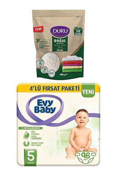 Evy Baby Bebek Bezi 5 Beden Junior 4'lü Fırsat 96 Adet Granül Sabun 400gr Hediyeli