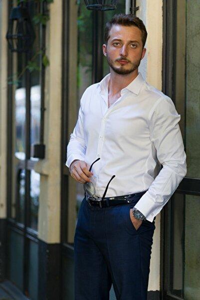 Etikmen Erkek Beyaz İthal Saten Slimfit Gömlek