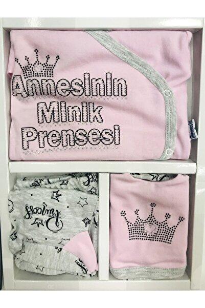 Miniworld Annesinin Minik Prensesi 5li Hastane Çıkışı Yenidoğan Zıbın Seti %100 Pamuk Anti Alerjik